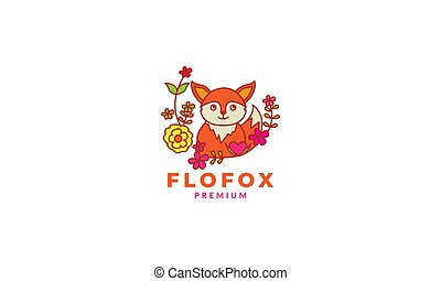 fox cute cartoon smile with plant flower logo icon vector illustration