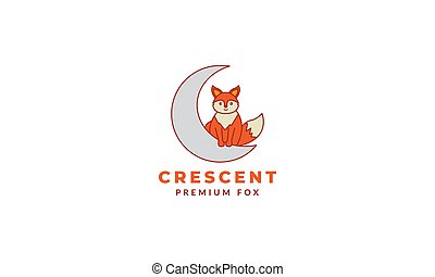 fox cute cartoon with crescent logo icon vector illustration
