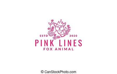 fox  cute  cartoon with plant flower line logo icon vector illustration