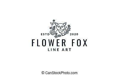 fox  cute  cartoon with plant  line logo icon vector illustration