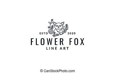 fox  cute  cartoon with plant  line logo icon vector illustration