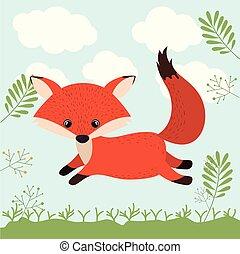 fox cute woodland icon