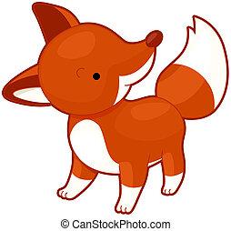 Fox - Illustration of a Cute Red Fox Glancing Upward