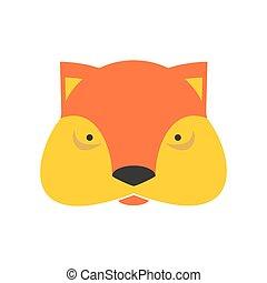 Fox face. Cute she-fox head. element for kids design