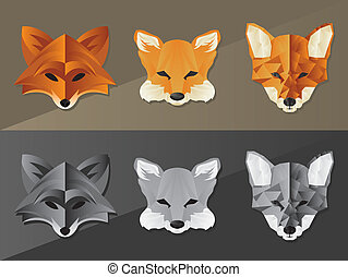 Fox Face Graphics - Collection of various fox face icons