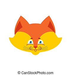 fox face Isolated. Cute wild animal on white background
