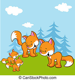 fox family on meadow near the forest