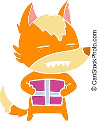 fox flat color style cartoon character with present