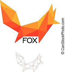 Fox geometrical sign, cat, dog abstract polygonal vector logo template. Origami orange color low poly wild animals icon.