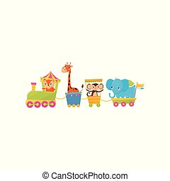 Fox, giraffe, monkey and elephant traveling by train. Cartoon animal characters. Zoo theme. Colorful flat vector design for children s book or greeting card