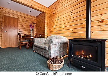 Fox Glacier Lodge apartment Interior - Fire place and nice ...