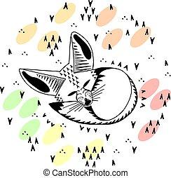 fox., gosses, mignon, illustration., fennec, style, dessin ...