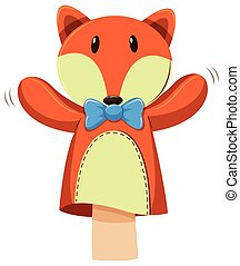 Fox hand puppet with blue bow