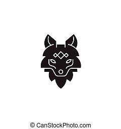 Fox head black vector concept icon. Fox head flat illustration, sign