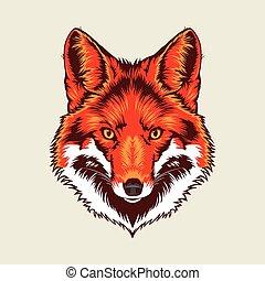 fox head  - Multi Colors Illustration Of fox head