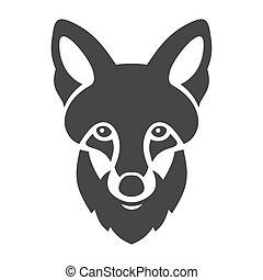 Fox Head Ligi Icon on White Background. Vector