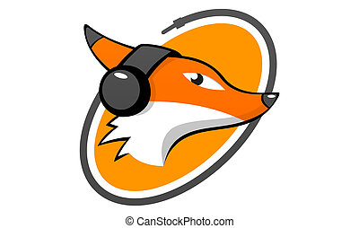 fox head listening music logo - logo for fox playing music
