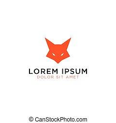 Fox head logo design template