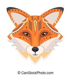 Fox Head Logo. Vector decorative Emblem.