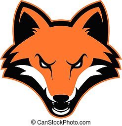 Clipart picture of a fox head cartoon mascot logo character