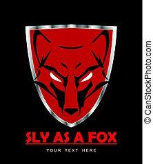 fox head on shield