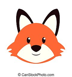 Fox head wildlife cute animal cartoon
