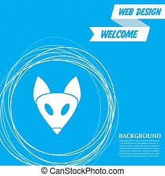 Fox icon on a blue background with abstract circles around and place for your text. Vector