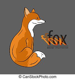 Fox. Icon or logo with original text. Vector illustration.