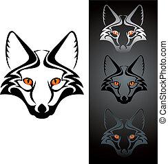 fox icon - set of three view cutout fox head stensil,...