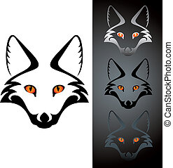 fox icon - set of three view cutout fox head stensil,...
