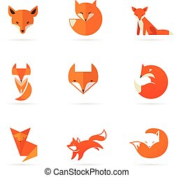 Fox icons, illustrations and elements - Fox signs,...