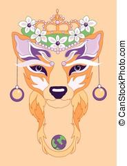 Fox illustration - illustration of decorative fox with...
