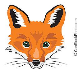 Fox - Illustration of fox head cartoon style