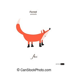 Fox in cartoon style on white background.