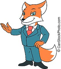Fox in office suit 2 - Illustration of the fox in office...