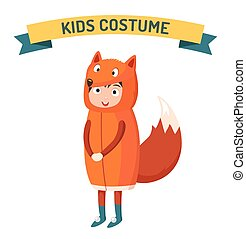 Fox kid costume isolated vector illustration. Kids party...