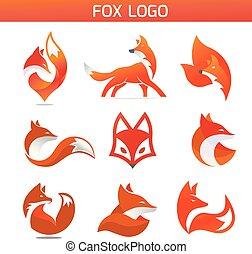 creative fox Animal Modern Simple Design Concept logo set, fox Animal Face Modern Simple Design Concept