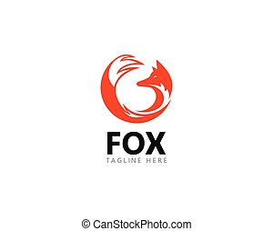Fox logo template vector icon illustration
