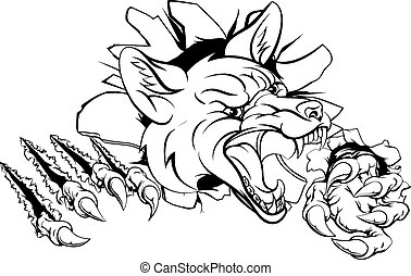 An illustration of a fox animal sports mascot cartoon character clawing through background