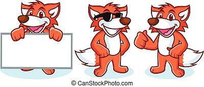Fox Mascot Vector happy
