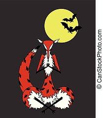 Fox meditating in the moonlight