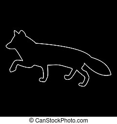Fox of silhouettes white color path icon .