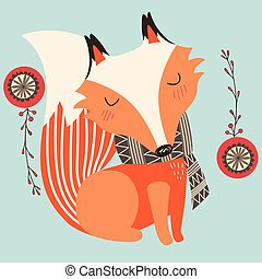 Fox On Christmas - Illustration of fox wearing scarf with...