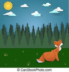 Fox on forest meadow landscape
