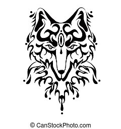 Fox or dog face, tattoo. Vector illustration, isolated on white.