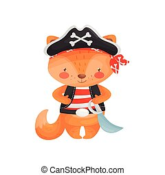 Fox pirate character in cartoon style, in a red-white vest, red bandana, black pirate hat, with a saber on a belt.