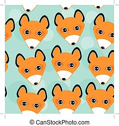 Fox Seamless pattern with funny cute animal face on a blue background