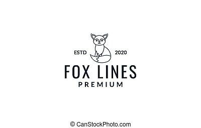 fox  side cute  cartoon line logo icon vector illustration