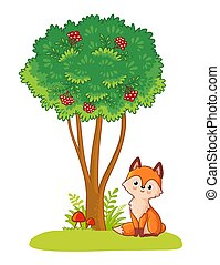 Fox sits in a clearing next to a green tree on a white background.