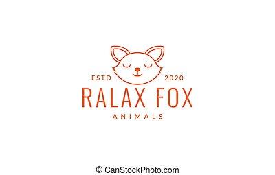 fox sleep line head face cute logo vector  illustration